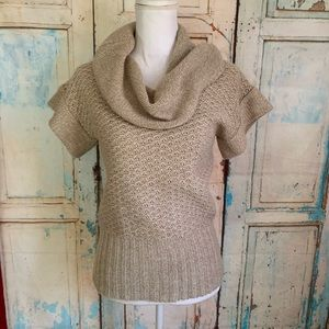 Loose knit short sleeve sweater cowl neck
